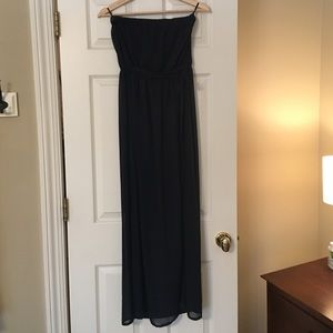 Forever 21 Navy Strapless Maxi Sundress With Bow